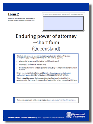 Enduring Power of Attorney short form