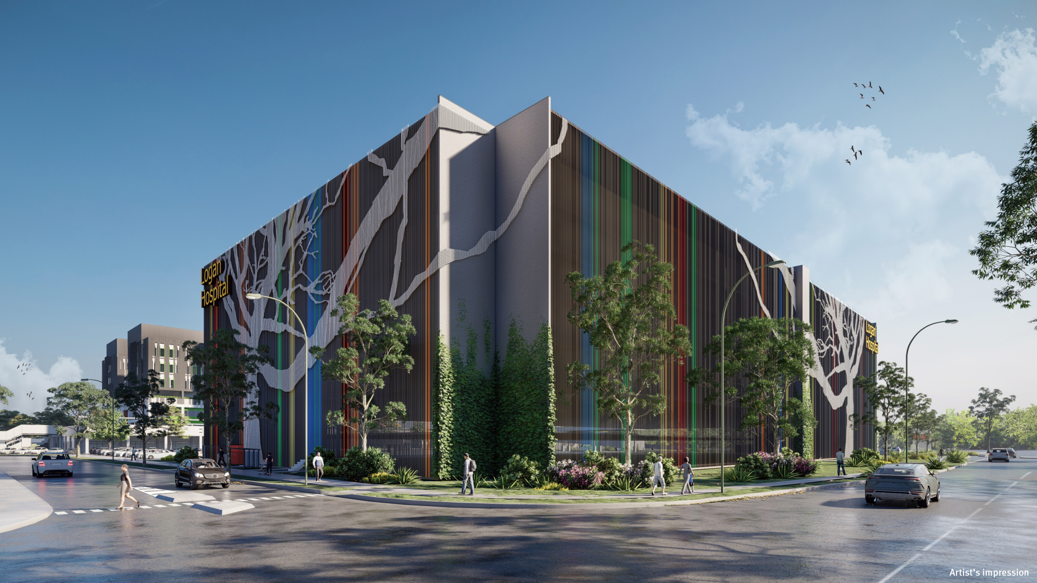 Artists impression of Logan Hospital's new multi-level car park