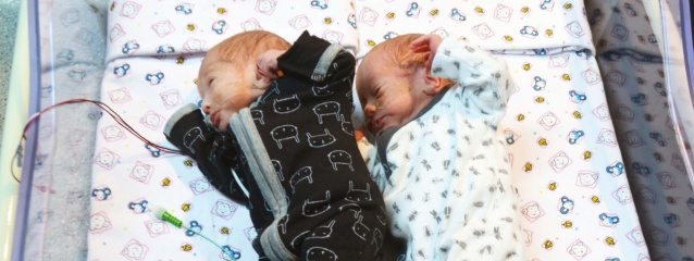 Special Care babies cuddle up in new twin cot