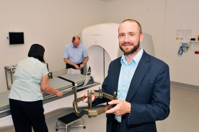 Dr Matthew Foote and the team with the Gamma Knife