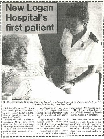 1990 - Logan Hospital's first patient