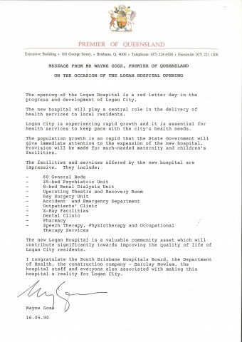 1990 - Message from the Premier