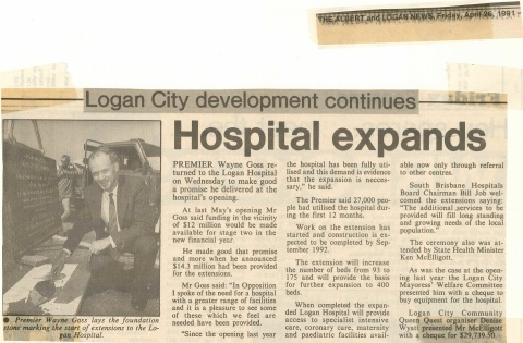 1991 - Hospital expansion announced