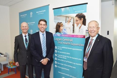 Metro South Health Chief Executive Dr Stephen Ayre, Hon Cameron Dick MP, Metro South Health Board Chair Terry White AO