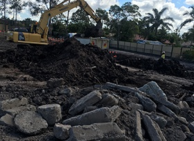 November: Construction waste found on site causing delays