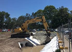 February: Rock swale drain eastern car park