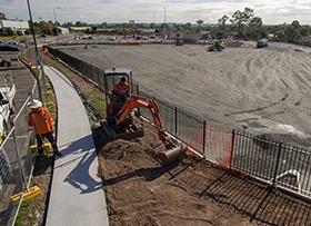April: Dust control paving works