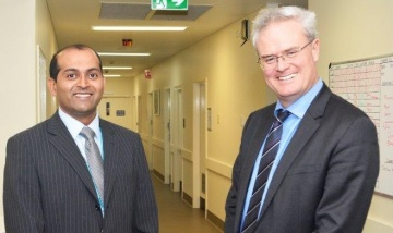 Metro South Health Board Director Mr Paul Venus joins Medical Officer Dr Shalandran Padayachee to celebrate the opening of the Logan Hospital Addiction and Mental Health Services Short Stay Unit.