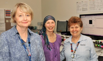 Associate Professor Margot Lehman with patient Susan Hewlett and therapist Jennie Baxter