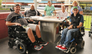 The Spinal Injuries Unit celebrating the donation of a BBQ and landscaping items for patients rehabilitation