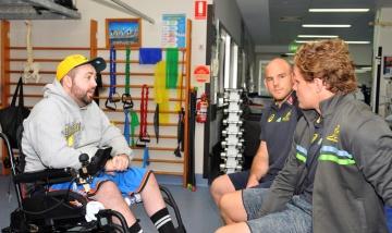 Spinal injury awareness story Cory Mostran with Wallabies